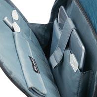 Interne Unterteilung mit Symbolen, einschließlich eines RFID-geschützten Beutels in der Vordertasche.